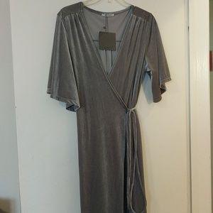 Zara long gray velour wrap dress